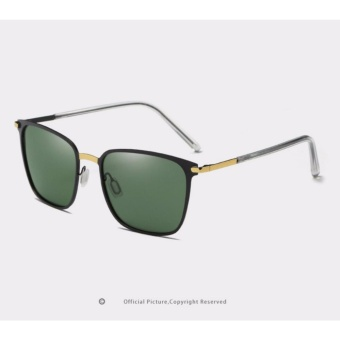 Men's sunglasses new box polarized sunglasses P0864 metal driver sunglasses sunglasses(Gold baked black + gray) - intl
