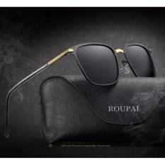 Men's sunglasses new box polarized sunglasses P0864 metal driver sunglasses sunglasses(Gold baked black +