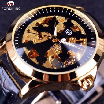 Mens Automatic Watch Clock Classic Transparent Case Golden Skeleton WristWatch