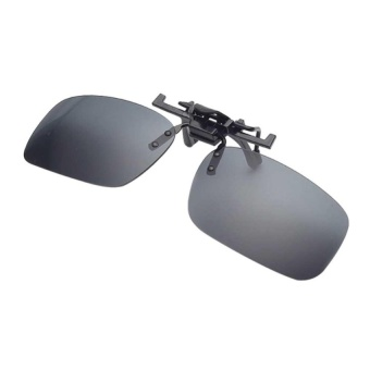 Harga Mens Day Night Vision Clip-on Flip-up Lens SunglassPracticalDriving Glasses Grey(Size: S) - intl