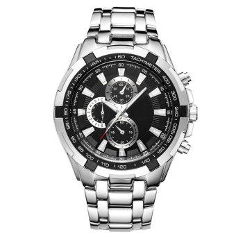 Men's Luxury Business Stainless Steel Watch Strap Fold-over Clasp Quartz Wrist Watch Silver