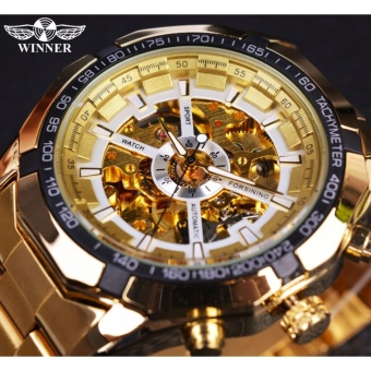 Mens Watches Classic Transparent Full Golden Top Brand Luxury Men Sport Automatic Watch Skeleton Watch Clock Wrist Watch (Gold White)