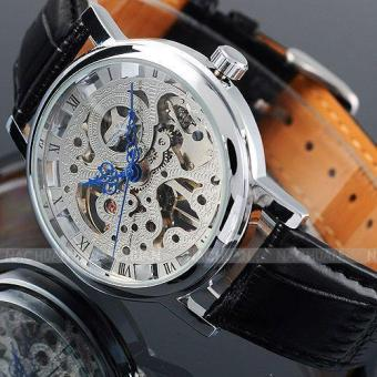 Mens Watches Skeleton Watch Blue Hands Special Design Roman Number Analog Men Watches Top Brand Luxury Men Mechanical Watch Erkek Saat - intl
