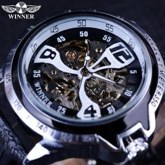 Mens Watches Sport Silver Bezel Climbing Design Transparent Skeleton Top Brand Luxury Mechanical Automatic Watch Clock - intl