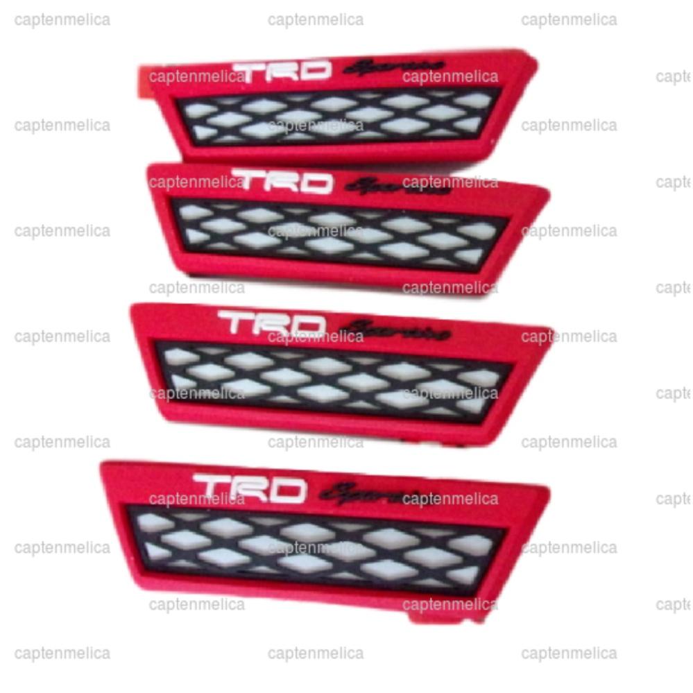 Merah 4pcs Door Guard Mobil TRD Racing Pelindung Samping Body BodiMobil Pintu Protector Protection Rubber Karet