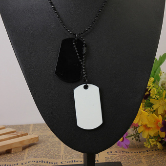 Military Army Style 2 Dog Tags Silver Ball Chain Mens PendantNecklace