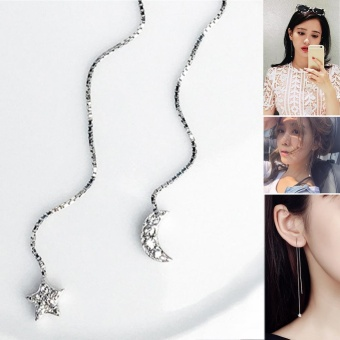 Moonar 1 Pair indah bintang dan bulan liontin Earrings Fashion Zircon dihiasi anting-anting panjang perhiasan