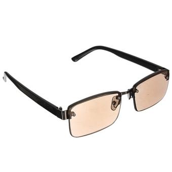 Moonar Fashion unisex Coklat kristal kacamata setengah bingkai kacamata baca untuk membaca Presbyopic .