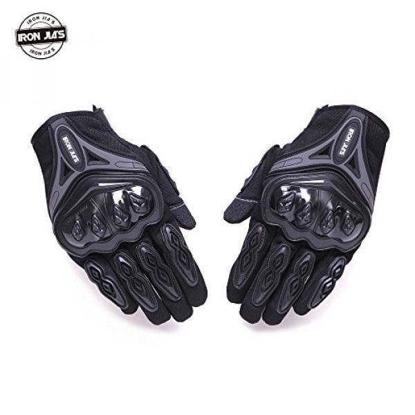 Motorcycle gloves Full finger durable for road racing bike summer spring Powersports support touch screen BLACK