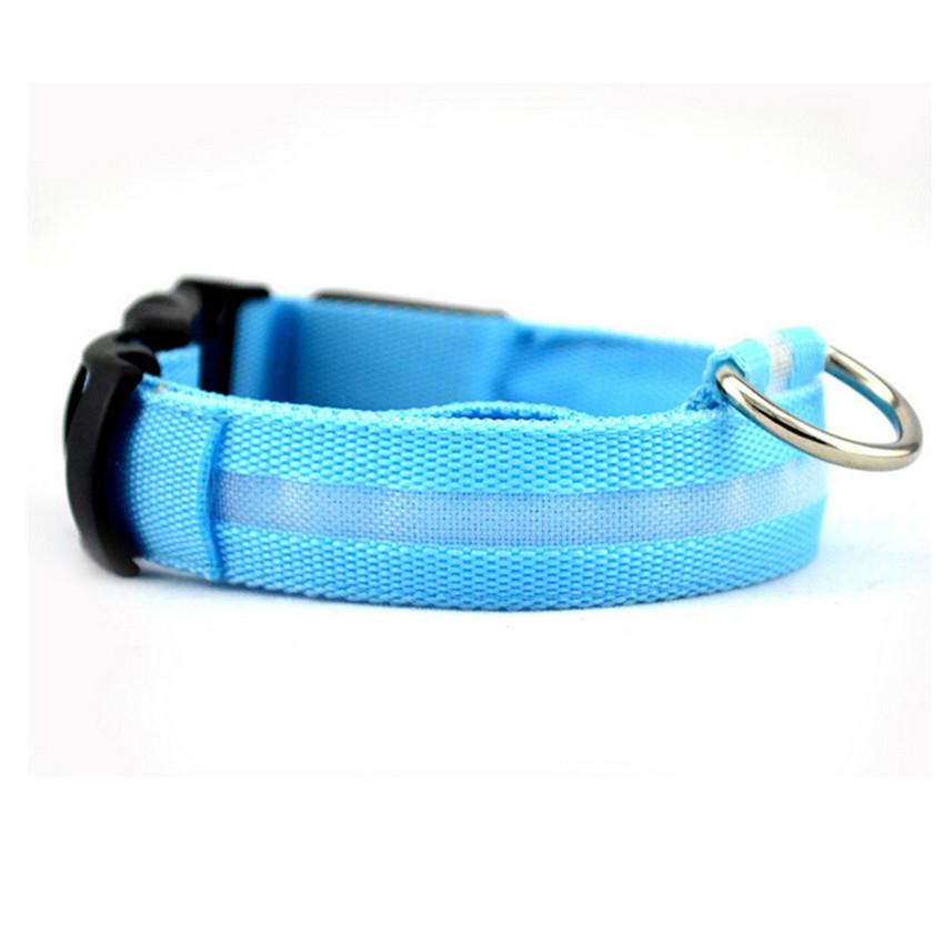 MULBA LED Nylon Pet Dog Cat Collar Night Safety LED Light-upFlashing Glow in the Dark Lighted Dog Collars (Blue)