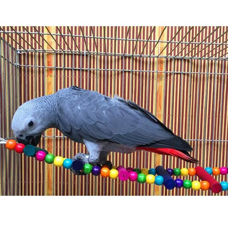 Multicolor Ladder Bridge Budgie Parrot Climbing Bite Toy Parakeet Swing Bird Toy - intl