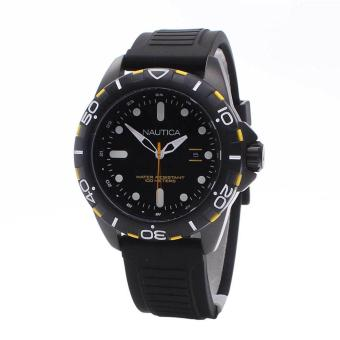 Nautica Watch NSR102 Black Stainless-Steel Case Rubber Strap Mens NWT + Warranty A11621G