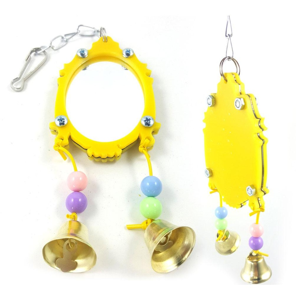 New Arrival Pet Supplies Mirror With 2 Bells Budgie Canary Pet BirdMirror Toy - intl
