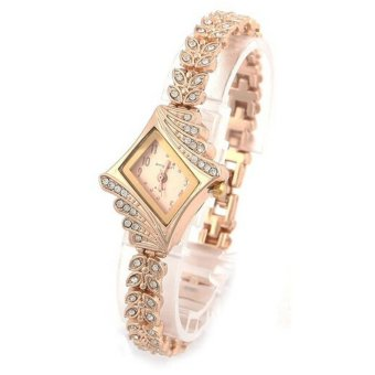 New Fashion Women Crystal Quartz Rhombus Bracelet Bangle Wrist Watch Gold