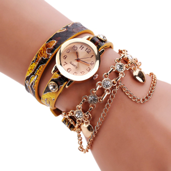 New Women Dress Quartz Wristwatch Snake Leather Bracelet Gold Watch Yellow