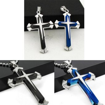 Newest Men's Multilayer Stainless Steel Necklace Chain CrucifixCross Pendant-Gold - intl ...
