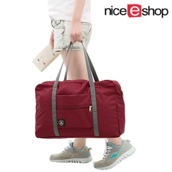 niceEshop Foldable Waterproof Carry Storage Bag Zipper Gym Sports Travel Luggage, Wine Red - intl