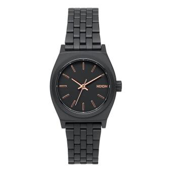 NIXON Small Time Teller All Black / Rosegold Jam Tangan Women A399957 - Stainless Steel - Black