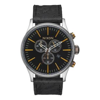 Nixon Watch Sentry Chronograph Black Stainless-Steel Case Leather Strap Mens NWT + Warranty A4052222