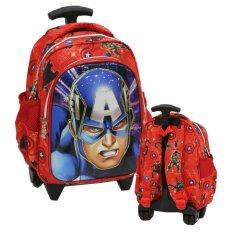 ... Onlan Marvel Captain America Kepala 6D Timbul Lapis Anti Gores Tas Trolley Anak TK & PG