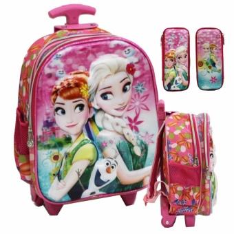 Onlan Tas Lampu & Music Trolley Anak Sekolah TK Frozen Cantik 5D Timbul Hologram Import +
