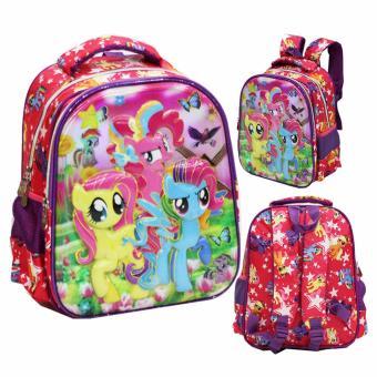 Onlan Tas Ransel Anak Sekolah TK Import Karakter Little Pony Pelangi 5D Timbul Hologram - Purple