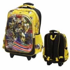 Onlan Tas Trolley Anak Sekolah SD Karakter Anak Laki Laki 5D Timbul Hologram Dua Kantung Besar Import - Yellow