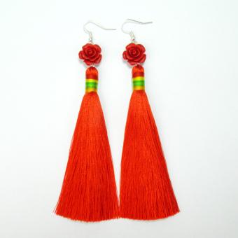 Elegan retro ranting daun lingkaran anting buatan tangan. Source · Oriental Style retro pengantin merah menikah bagian panjang dari rumbai anting-anting