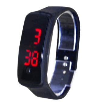 PAlight warna Candy silikon layar sentuh Digital jam tangan Sport jam tangan LED (hitam)