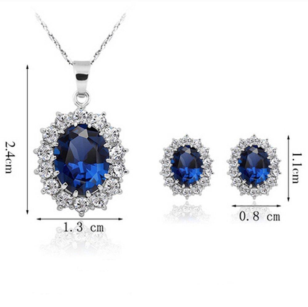 Panjang kaya emas berlapis batu permata kristal kalung dan anting set perhiasan berlian .