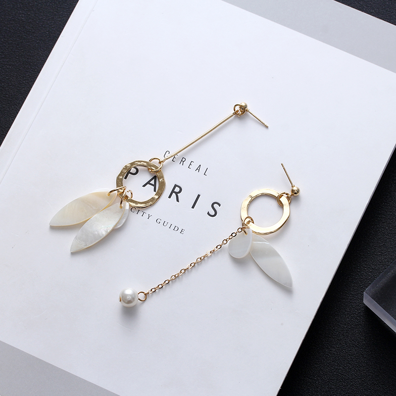 Cheap online Pearl anting-anting asimetris anting-anting shell