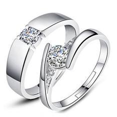 Perak Adjustable beberapa cincin perhiasan sayang pecinta cincin E007