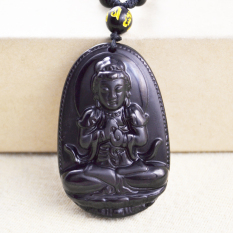 Perak Tepi Harta Obsidian Jimat Budha Pelindung Pria Kalung Liontin