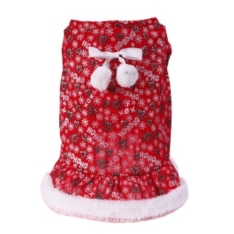 Harga baru Pet Dog Bowknot Dress Cute Letters Printed Christmas Dress Cloth(Red)-L - intl Pencari Harga