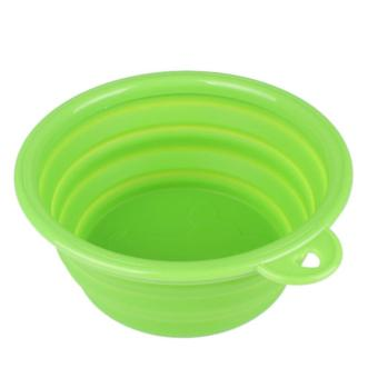 Pet Dog Water Food Feeding Bowl Travel Folding Retractable Silicon Gel Bowl color:Green - intl