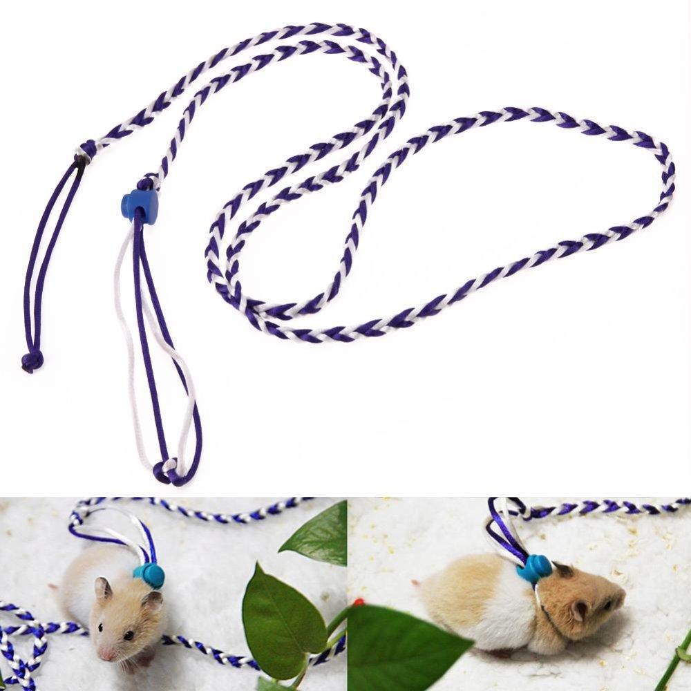 Pet Hamster Cage Leash Adjustable Pet Rat Mouse Harness RopeLeash(Blue) - intl
