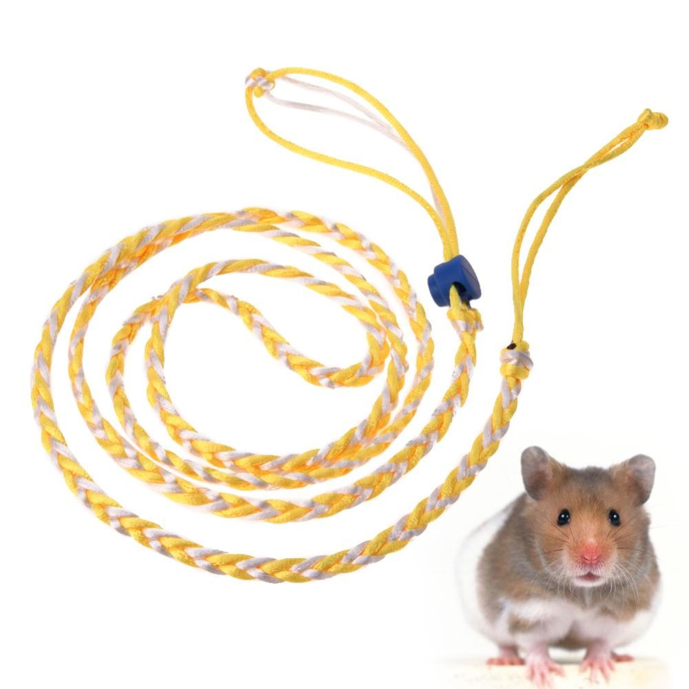 Pet Hamster Cage Leash Adjustable Pet Rat Mouse Harness RopeLeash(Yellow) - intl
