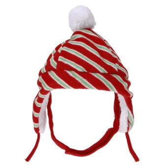 Pet Hats Cats Dogs Decoration Suppliesf Christmas Red Stripe Warm Caps (Red + White) - intl