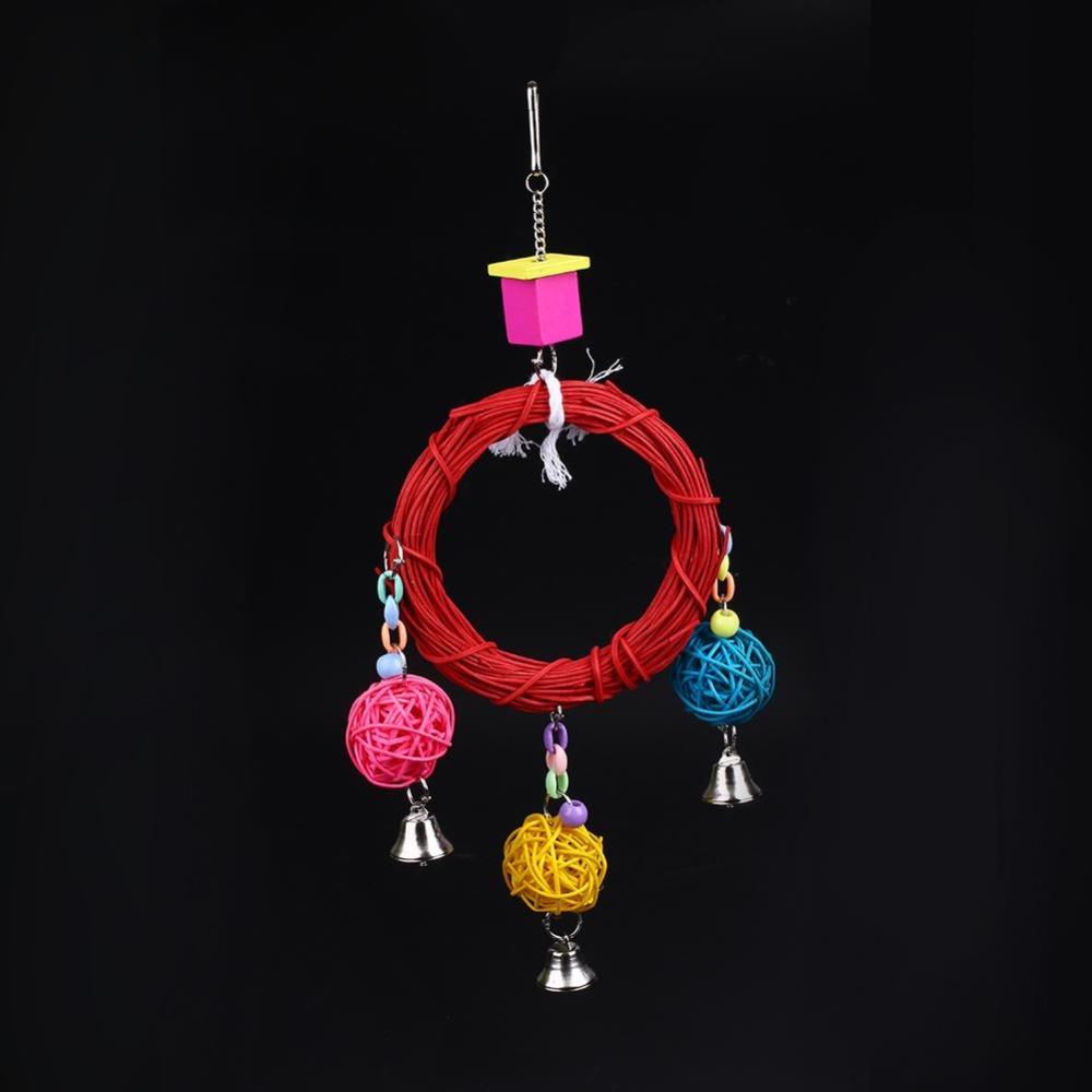 Pet Pet Bird Rattan Ball String Hanging Toys Chewing Swing Cage FunAccess - intl