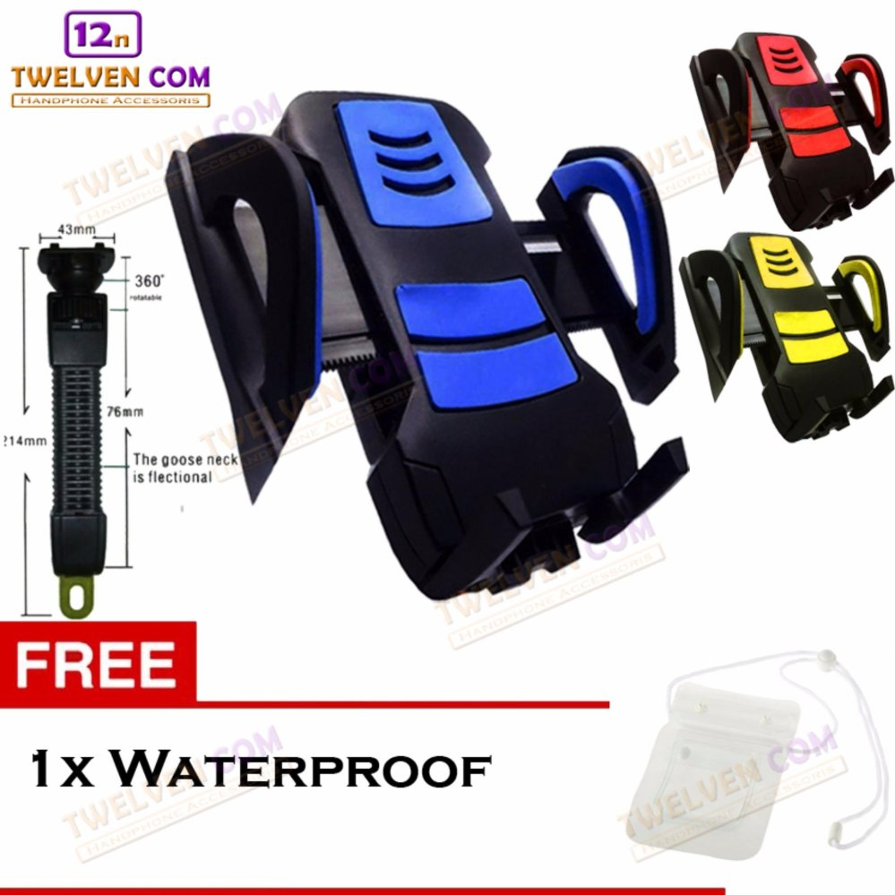 Phone Holder Bracket Universal Holder Spion Untuk Motor - Free Waterproof Case