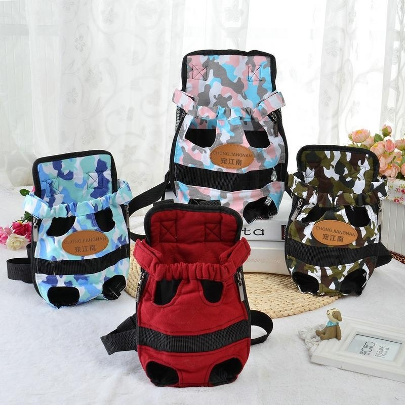 Portable Pet Puppy Double-shoulder Prothorax Bags Dog Travel Carrier Dog Front Backpack Pet Bags Dog Pack Bag Chest Pack Army Green-S - intl