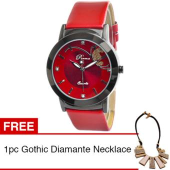 PREMA Jam Tangan Analog Wanita Strap Kulit Sintetis Women Leather Fashion Wrist Watch - Red + Gratis 1pc Gothic Diamante Necklace