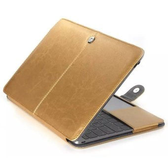 Premium Quality PU Leather Book Cover Clip On Case for Apple 13inch MacBook Air(Gold)