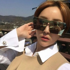 Pria & Wanita Sunglasses Square Sunglasses Cerah Warna Retro Bingkai Besar-Silver Frame Mercury Lembar
