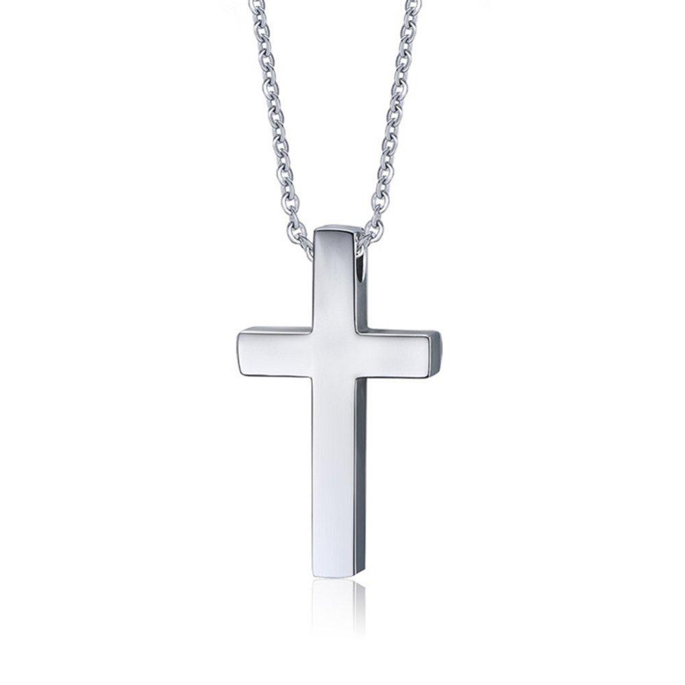 Jual Beli Pria Sederhana Liontin Kalung Salib Stainless Steel Untuk Black Christian Jesus Lord Rantai Doa Gratis Perak