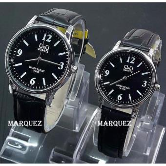Q&Q Couple ORiginal - Jam Tangan Pria & Wanita / Remaja / Abg - Analog Water Resis QQ 212 MZ - Bahan Tali Kulit - Model Simple