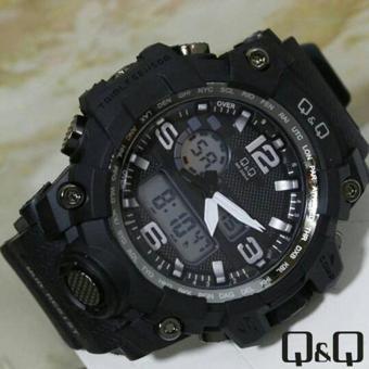 Q&Q Dual Time - Jam Tangan Sport Pria - Rubber Strap -Q&Q VR42J020Y
