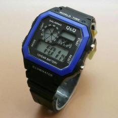 Q&Q - Jam Tangan Digital Pria - Rubber Hitam - Dial Hitam - Bezel Biru Q&Q 1034