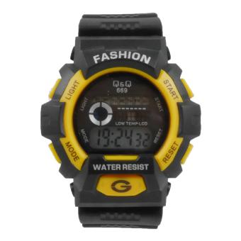 Q&Q - Jam Tangan Digital Pria - Rubber Hitam - Dial Hitam - Bezel Kuning QQ-669-PW