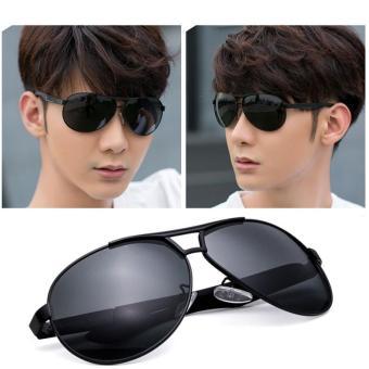 RAYKDIA Pilot Frame Men Fashion Kacamata Merek Desainer Retro Vintage  Polarized Sunglasses UV400 8005 Black grey ecf3150f03